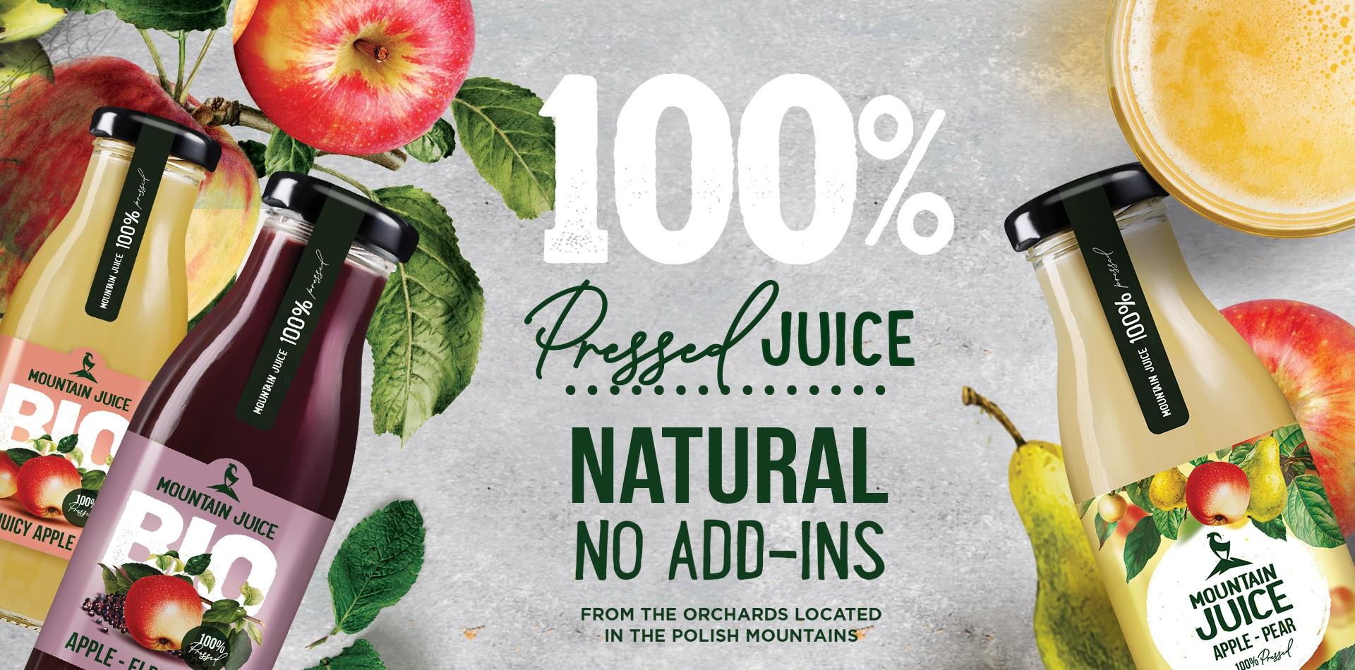 SOK Z GÓR - naturalny sok tłoczony z Łącka